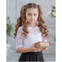"""Блузка белого цвета с кружевной кокеткой """"Фанни"""""""