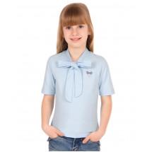 """Блузка для девочки голубого цвета с коротким рукавом """"Полина"""""""