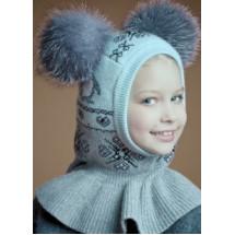 """Шлем зимний серо-розовый с двумя натуральными помпонами """"пингвины"""""""