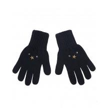 Перчатки зимние темно-синего цвета со звездами ДИМКА
