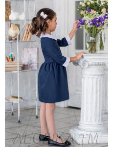 """Платье темно-синего цвета с белым воротником и манжетами """"Мэнни"""""""