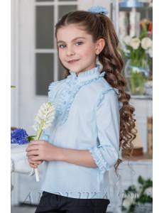"Блузка голубого цвета с рукавами 3/4 ""Николетта"""