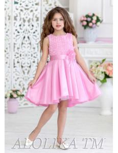 """Платье нарядное розового цвета с асимметричной юбкой """"Оливия"""""""