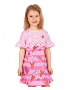 """Платье розовое с коротким рукавом """"Ванильное мороженое"""""""