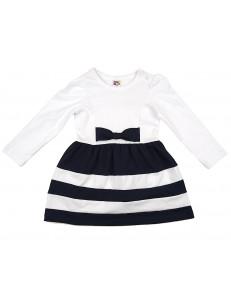 Платье с длинным рукавом белое в синюю полоску