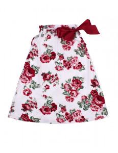 Сарафан для девочки молочного цвета с красными цветами