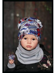 """Комплект серый для мальчика (удлиненная шапка и снуд) """"Booom"""""""