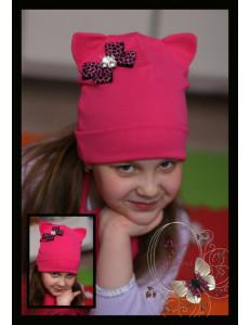 Шапка-кошка для девочек ярко-розовая с бантиком