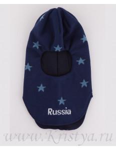 Шапка-шлем для мальчиков синий с голубыми звездами ЛЕШКА