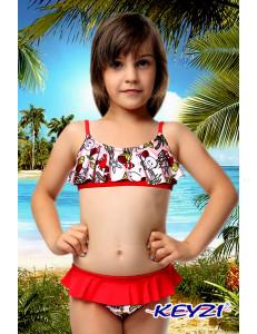 """Купальный костюм для девочек красного цвета """"Море"""""""