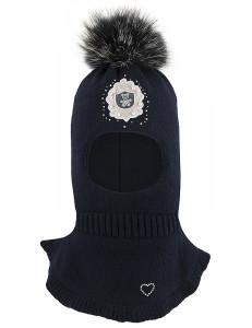 Шапка-шлем для девочек синего цвета с бусинками ОБАЯШКА