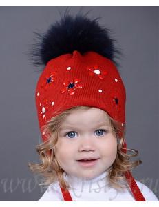 """Шапка зимняя для девочек красного цвета с цветочками """"МОНПАНСЬЕ"""""""