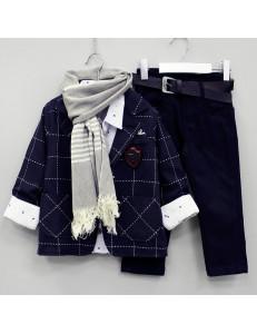 """Костюм для мальчиков темно-синего цвета с шарфом """"Премьер"""""""