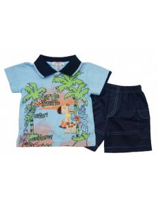 """Комплект голубого цвета на мальчика """"пальмы"""" (шорты и футболка)"""