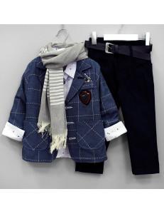 """Костюм для мальчиков цвета джинс с шарфом """"Премьер"""""""