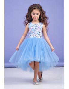 """Платье нарядное голубое для девочек со шлейфом  """"Весна"""""""
