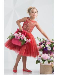 """Платье нарядное с пайетками красного цвета """"Элегант"""""""