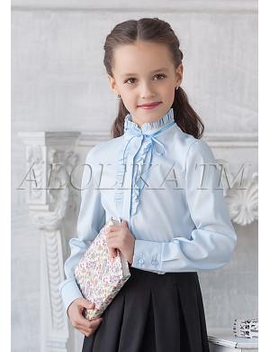 """Блузка голубого цвета с воротником стойкой """"Кайли"""""""